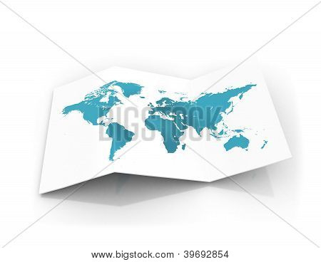 World Map On A Piece Of Cardbord Paper