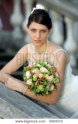 Beautiful Bride Holding Bouquet