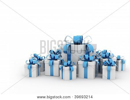 Gift boxes blue ribbon