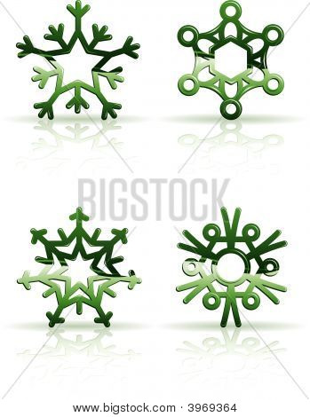 3D Green Snowflake Icons