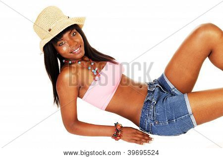 Black Girl With Hat Lying.