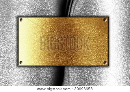 Golden Plaque On Metal Background