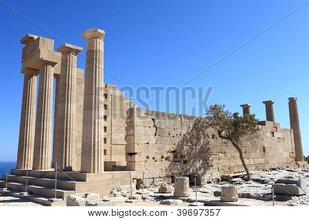 Doric Temple Of Athena Lindia View