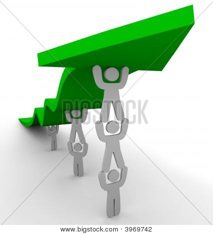 Muitos empurrando para cima seta verde