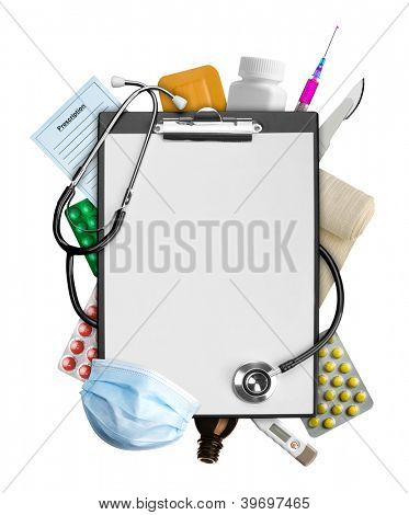 Empty clipboard with medical supplies
