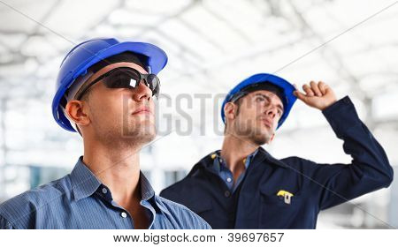 Portrait of two engineers at work