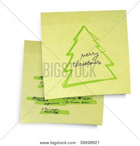 Business yellow sticky notes with Merry Christmas tree. Raster version, vector file available in portfolio.