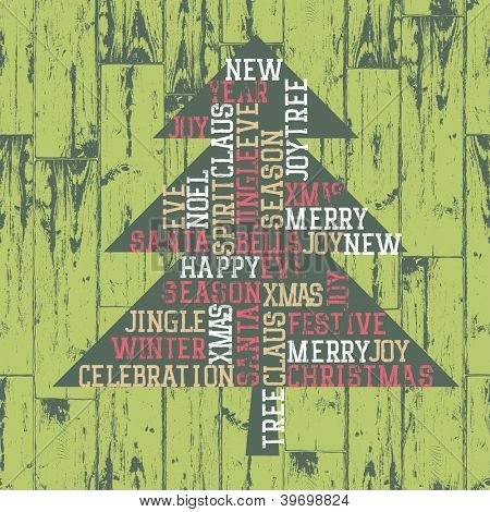 Xmas tree words_composition. Raster version, vector file available in portfolio.