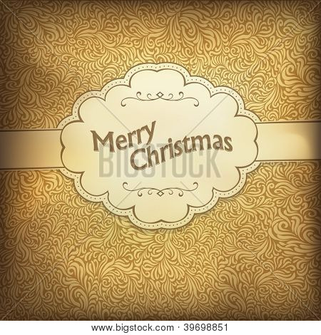 Vintage Weihnachtskarte in goldener Farbskala. Raster Version, Vektordatei im Portfolio zur Verfügung.