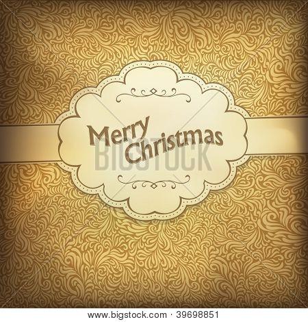Vintage Christmas card in golden gamut. Raster version, vector file available in portfolio.
