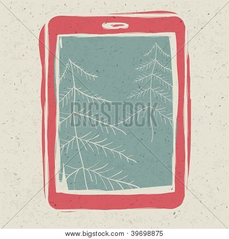 Christmas trees on tablet device screen. Raster version, vector file available in portfolio.