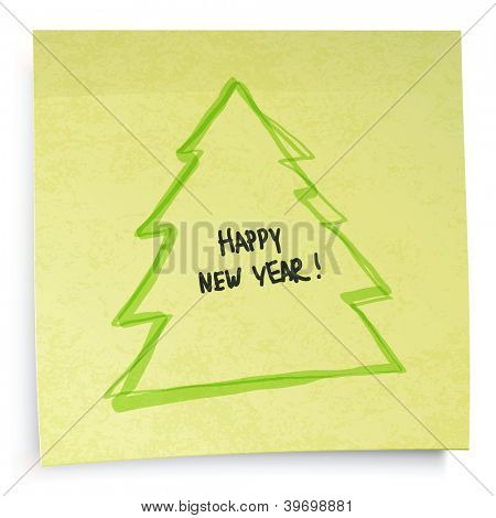 Yellow sticky notes with New Year tree. Raster version, vector file available in portfolio.