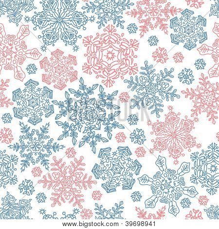 Seamless snowflakes pattern for winter themed designs. Raster version, vector file available in portfolio.