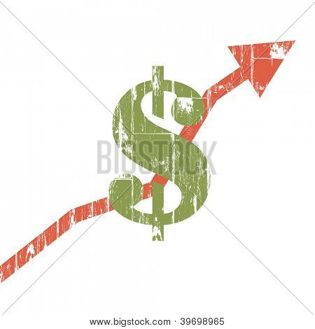 Earnings sign, isolated, grunge, business growing concept. Raster version, vector file available in portfolio.