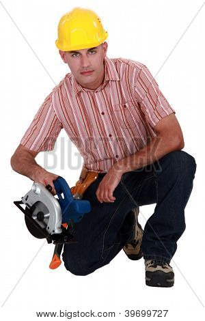 Woodworker with circular saw
