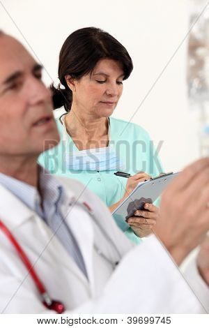 doctor and nurse on a professional meeting