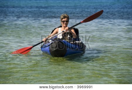 Kayak Woman And Dog