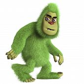 picture of bigfoot  - 3 d caertoon cute green monster bigfoot - JPG