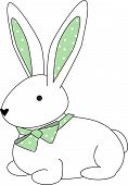 picture of bunny ears  - illustration of a cuddly bunny with a green polka dotted bow - JPG