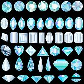 picture of alexandrite  - illustration of a set of light precious stones of different cut - JPG