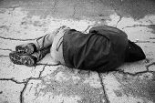 image of hobo  - hobo sleep on the street special toned photo f - JPG