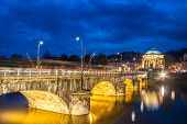 stock photo of turin  - Panoramic view of bridge Vittorio Emanuele I and Chiesa della Gran Madre di Dio church in Turin Italy Europe - JPG