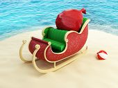 foto of sleigh ride  - sleigh of Santa Claus on the beach - JPG