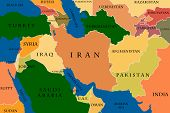 stock photo of turkmenistan  - Colored Map Of The Middle East Countries - JPG