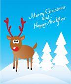 stock photo of rudolf  - vector illustration of a Reindeer Christmas card - JPG