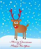 image of rudolf  - vector illustration of a card with reindeer - JPG