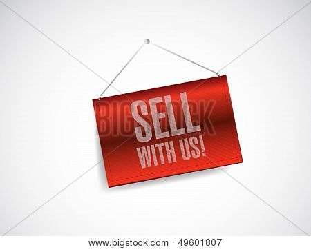 Sell With Us Red Banner Illustration Design