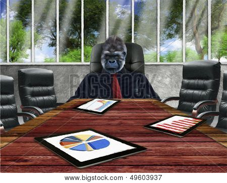 Gorilla at boardroom table