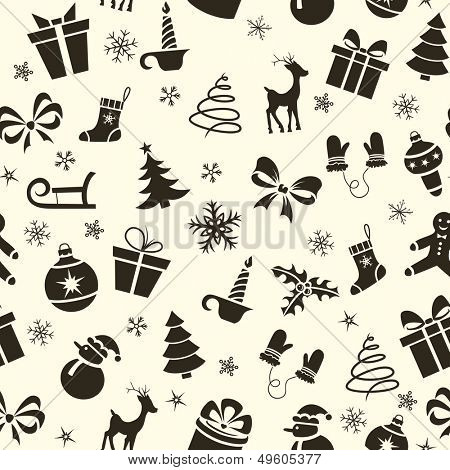 Vintage Christmas seamless pattern with deer, snowman, tree, sled, candle, etc