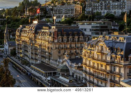 Fairmont Le Montreux Palace Hotel In The Evening