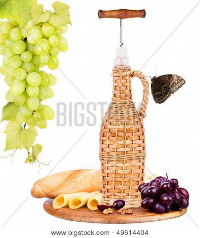 picnic background with wine and food