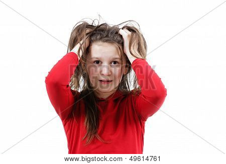 Disheveled Frightened Girl Child