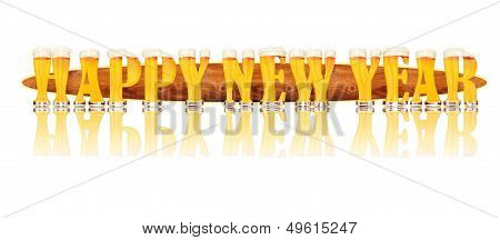 BEER ALPHABET letters HAPPY NEW YEAR