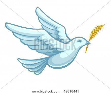 flying dove bird with wheat ear in the bill as a symbol of peace - eps10 vector illustration