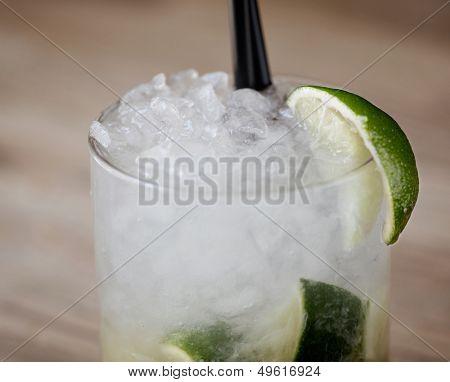 Caipirinha cocktail in a rustic restaurant