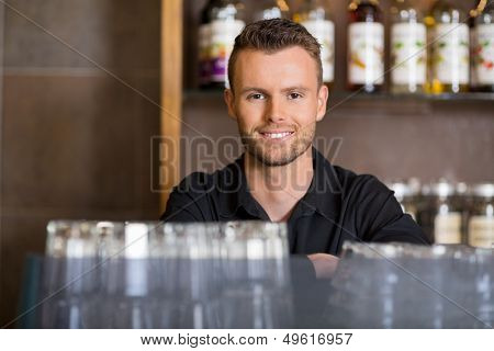 Portrait of handsome male barista at coffeeshop