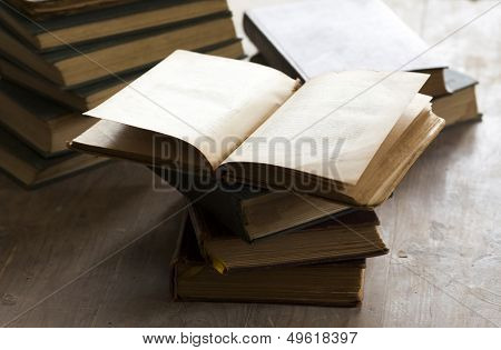 Plie of old books