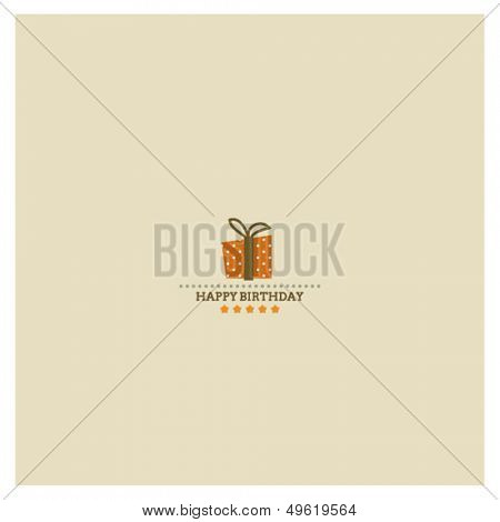 Happy Birthday card with holiday polka dot gift box and stars