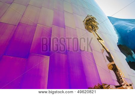 Seattle's Space Needle is reflected on the EMP Museum