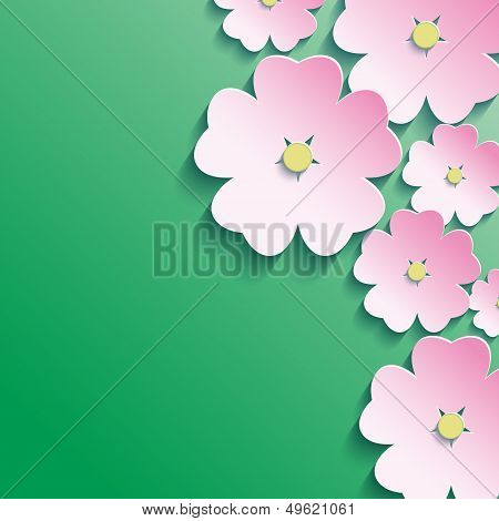 3D Flowers, Abstract Floral Background
