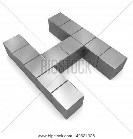 Letter H Cubic Metal