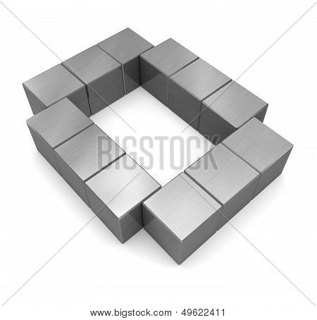 Letter O Cubic Metal