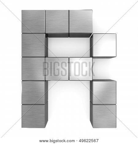 Letter R Cubic Metal