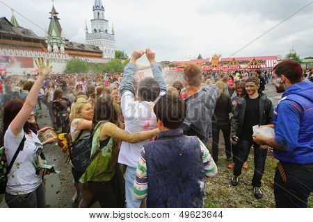 MOSCOW - MAY 26: Festival of Indian colors Holi near Izmailovo Kremlin on May 26, 2013, Moscow, Russia. Holi is an annual Indian festival of colors that marks the arrival of spring