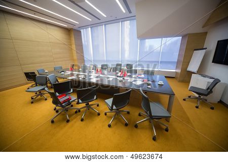 MOSCOW - DEC 20: Empty conference room after the Business Breakfast at the office Rosbank on December 20, 2012 in Moscow Russia.