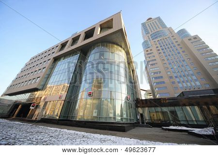 MOSCOW - DEC 20: Cityscape with modern building and tall skyscraper of business center Domnikov on December 20, 2012 in Moscow, Russia.